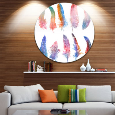 Design Art Rainbow Feathers Floral Metal Circle Wall Art