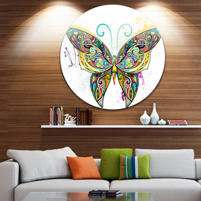 Design Art Openwork Butterfly Large Contemporary Circle Metal Wall Arts