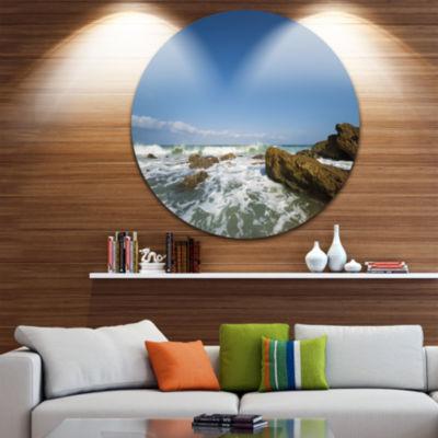 Design Art Sea with White Waves Disc Seascape Circle Metal Wall Art
