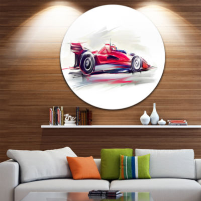 Design Art Red Formula One Car Disc Contemporary Car Circle Metal Wall Art
