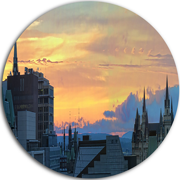 Design Art Ottawa City Panoramic Disc Cityscape Photo Circle Metal Wall Art