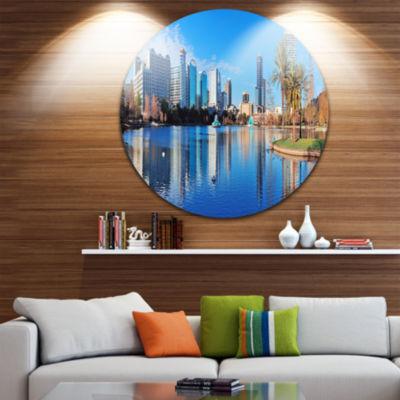 Design Art Orlando Morning Disc Cityscape Photo Circle Metal Wall Art
