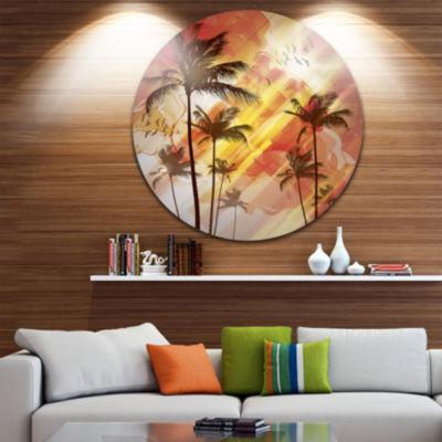 Design Art Palm Tree at Sunset Disc Photography Circle Metal Wall Art