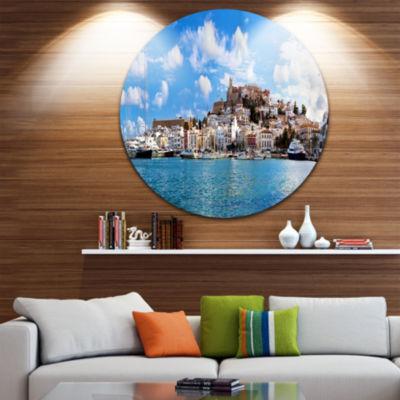 Design Art Panorama of Ibiza Spain Disc CityscapePhoto Circle Metal Wall Art