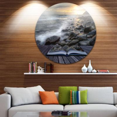 Design Art Open Book to the Evening Sea Disc Contemporary Circle Metal Wall Art
