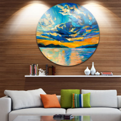 Design Art Orange Sunset with Blue Sky Painting Circle Metal Wall Art