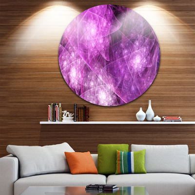 Design Art Pink Rotating Polyhedron Abstract RoundCircle Metal Wall Decor