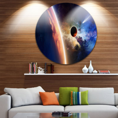 Design Art Planet and Comet in Space Spacescape Circle Metal Wall Art