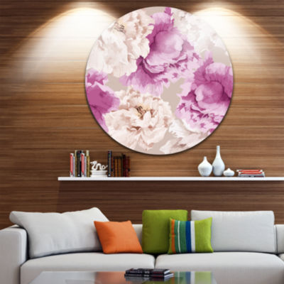 Design Art Peony Floral Pattern Disc Floral CircleMetal Wall Art