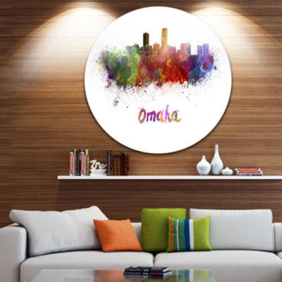 Design Art Omaha Skyline Disc Cityscape Circle Metal Wall Art
