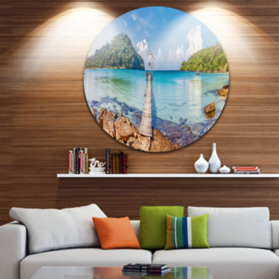Design Art Pier to the Island Panorama Landscape Photography Circle Circle Metal Wall Art