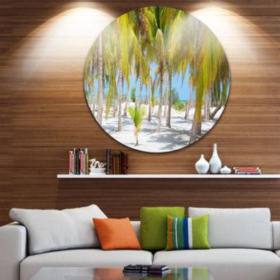 Design Art Palm Trees Disc Landscape Photography Circle Metal Wall Art