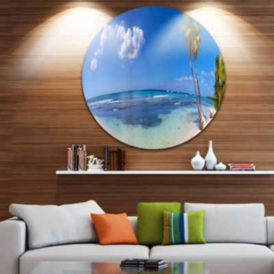 Design Art Paradise Beach Panorama Landscape Photography Circle Metal Wall Art