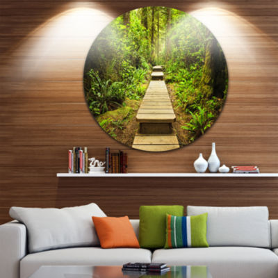 Design Art Path in Temperate Rainforest LandscapePhotography Circle Metal Wall Art