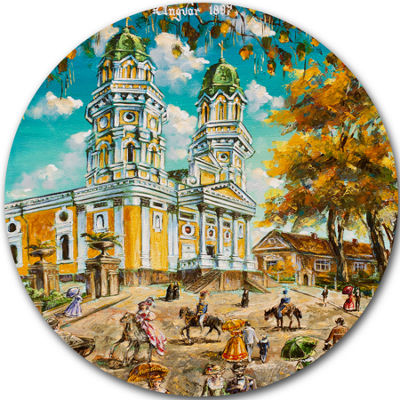 Design Art Old Church Landscape Circle Metal WallArt