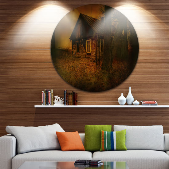 Design Art Old House Landscape Disc Photography Circle Metal Wall Art