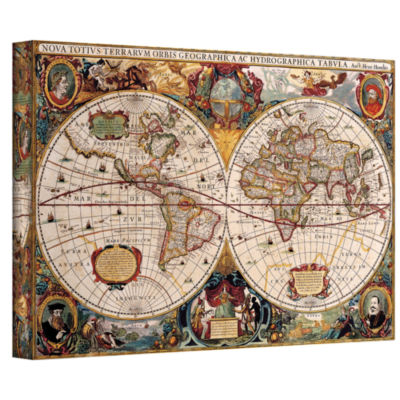 Brushstone A New and Accurate Map of the World Gallery Wrapped Canvas Wall Art