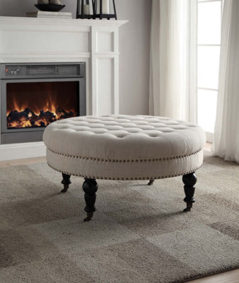 Isabelle Round Fabric Tufted Ottoman