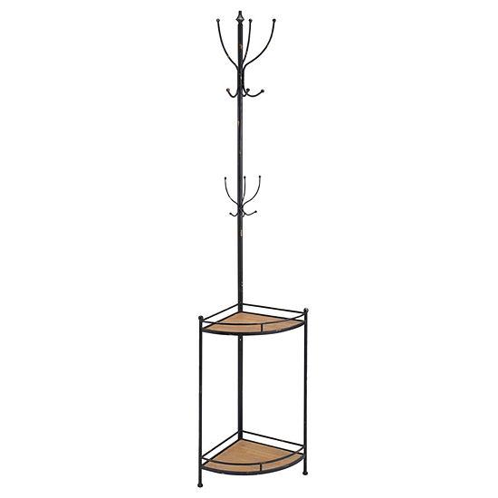 Corner Metal and Wood Coat Rack