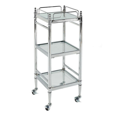 Pinnacle Chrome and Glass Linen Bathroom Shelf with Wheels