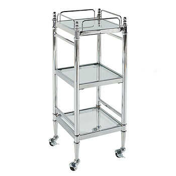 Pinnacle Chrome And Glass Linen Bathroom Shelf With Wheels Color Jcpenney