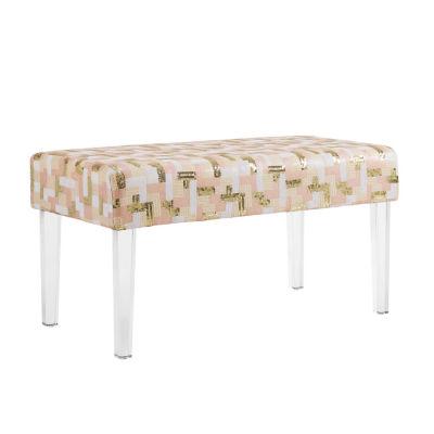 Stella Sequin Colorblock Acrylic Leg Bench