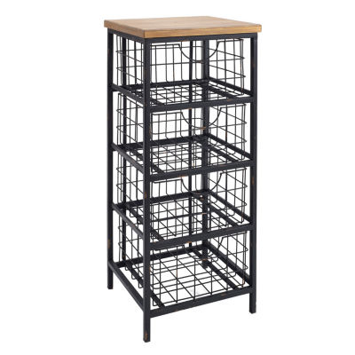 Metal and Wood Serving Cart with Drawer