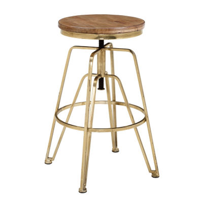 Wood and Metal Adjustable Height Counter Stool