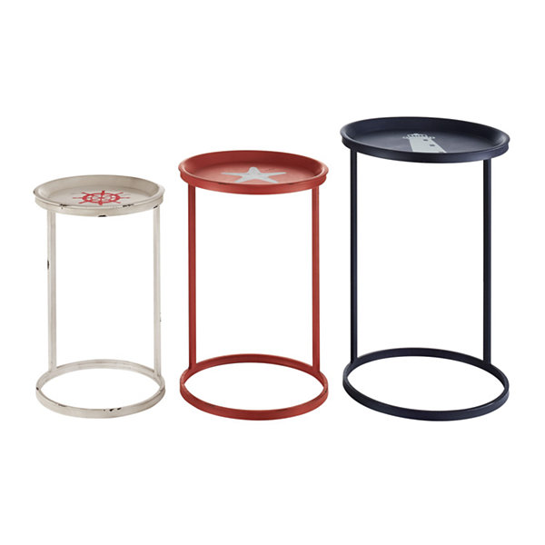 Set Of 3 Nautical Nesting Tables