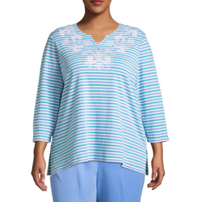 Alfred Dunner Bonita Springs Striped Embroidered T-Shirt-Plus