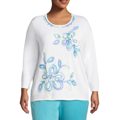 Alfred Dunner Bonita Springs Floral Pullover Sweater-Plus