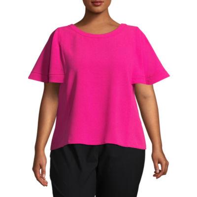 Worthington Short Sleeve Scoop Neck Woven Blouse - Plus