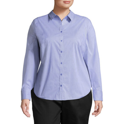 Worthington Long Sleeve Button-Front Shirt - Plus
