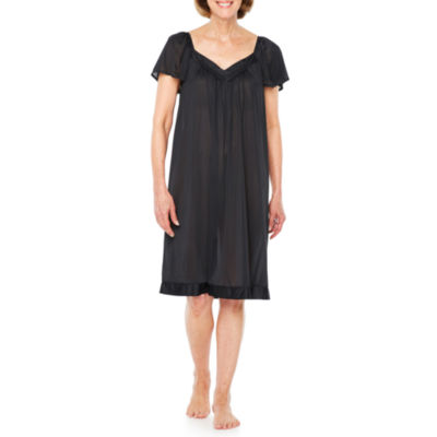 Lissome Lounge Womens Tricot Nightgown Short Sleeve Sweetheart Neck