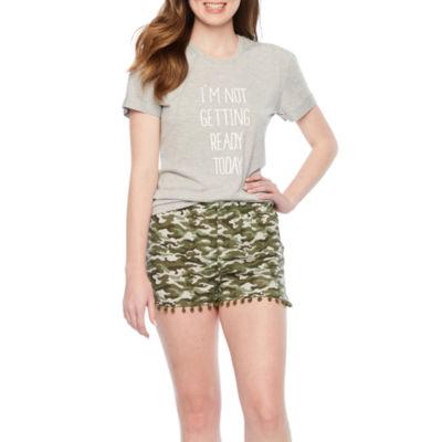 Wallflower Pom Pom Trim Short Pajama Set