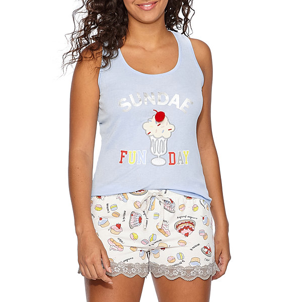 Pj Couture Lace Mix Shorts Pajama Set-Juniors