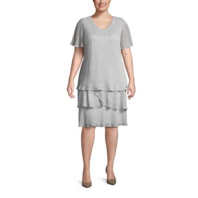 Onyx Nites Short Sleeve Evening Gown-Plus