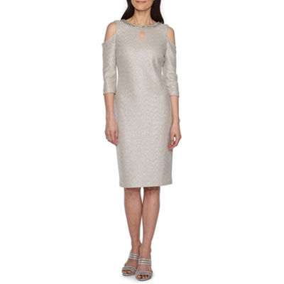 Melrose 3/4 Sleeve Embellished Party Dress-Petite
