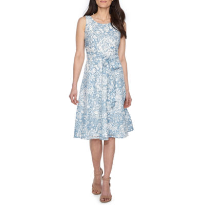Perceptions Sleeveless Floral Wrap Dress-Petite