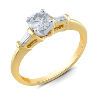 Womens 1/2 CT. T.W. Round White Diamond 14K Gold Solitaire Ring