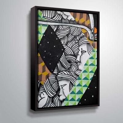 Brushstone Graff1 Gallery Wrapped Floater-Framed Canvas Wall Art