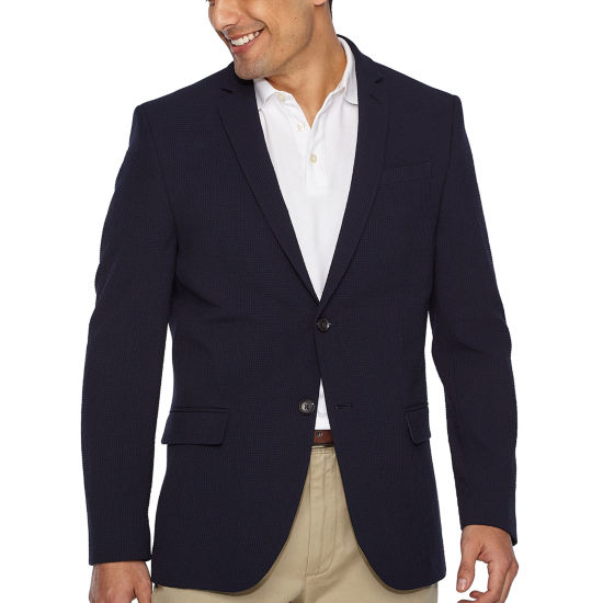 JF J. Ferrar Navy Searsucker Slim Fit Sport Coat