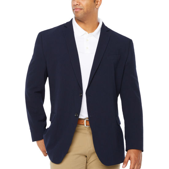 JF J. Ferrar Navy Searsucker Big and Tall Sport Coat