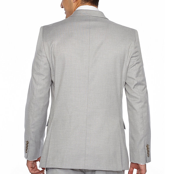 JF J.Ferrar Light Gray Classic Fit Stretch  Suit Jacket