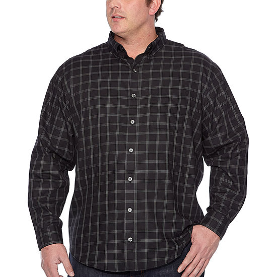 Van Heusen Big and Tall Wrinkle Free Twill Button Down Mens Long Sleeve Striped Button-Front Shirt