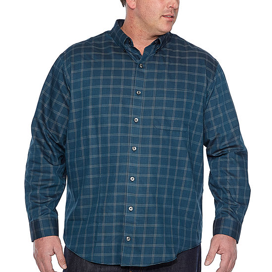 Van Heusen Mens Wrinkle Free Twill Long Sleeve Button Down Shirt