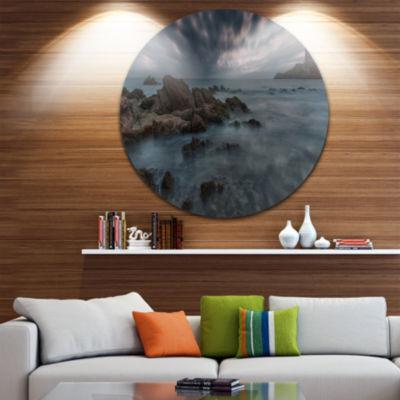 Design Art French Riviera Coastline Landscape Photography Circle Metal Wall Art
