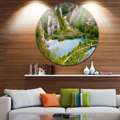 Design Art Plitvice Lakes Long View Circle Metal Wall Art