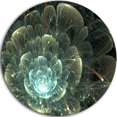 Design Art Fractal Flower Blue and Gray Floral Circle Metal Wall Art