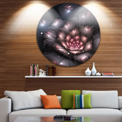 Design Art Fractal Flower with Pink Details FloralCircle Metal Wall Art